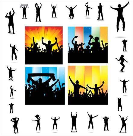 cheering: Set posters for sports championships and music concerts  Illustration