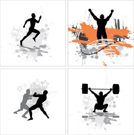 leg muscle: Establecer carteles para los campeonatos deportivos y conciertos Vectores