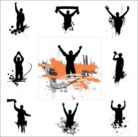 fist up: Set of silhouettes for sports championships Illustration