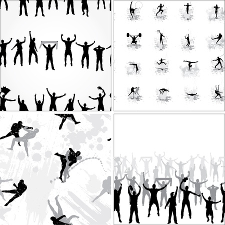 supporter: Set seamless background from sport silhouettes Illustration
