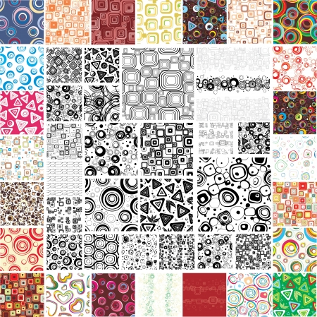 Mix Collection multicolored and monochrome seamless textures Vector