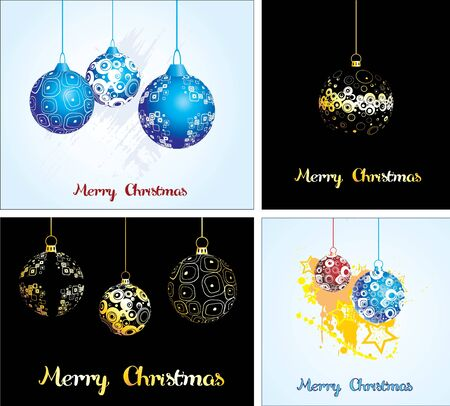 Set  Card with Christmas balls  Stock Vector - 16702254