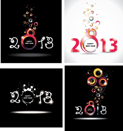 New year 2013  Set abstract posters  Stock Vector - 16702244