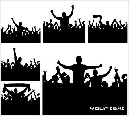 porrista: Conjunto de carteles de campeonatos deportivos y conciertos