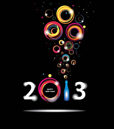 champagne bubbles: New year 2013 in black background