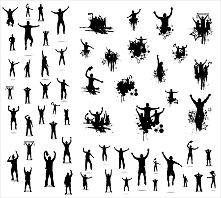 cheer: Set of poses from fans for sports championships and music concerts. Boys and girls