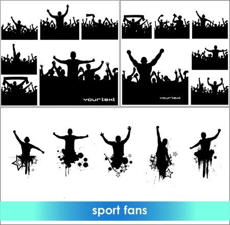 foule mains: Banni�res publicitaires pour des championnats sportifs et concerts Illustration