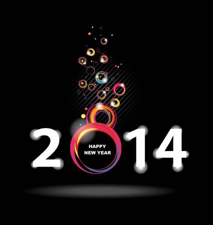New year 2014 in black background  Abstract poster Vector
