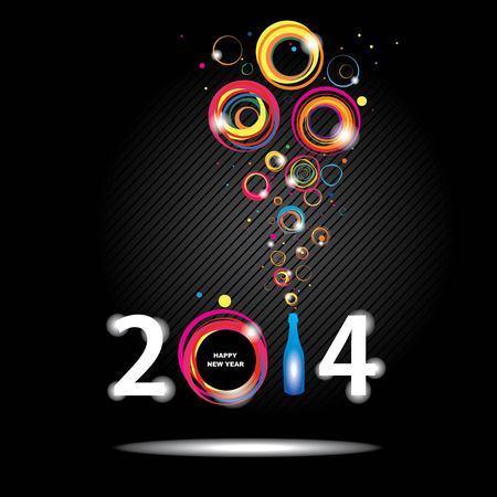 sylwester: Nowy Rok 2014 w kolorze czarnym tle Streszczenie plakatu Ilustracja
