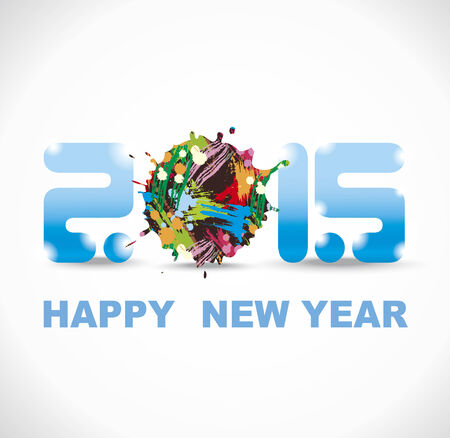 New year 2015 in white background. Abstract poster Vector