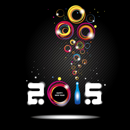 New year 2015 in black background. Abstract poster Vector