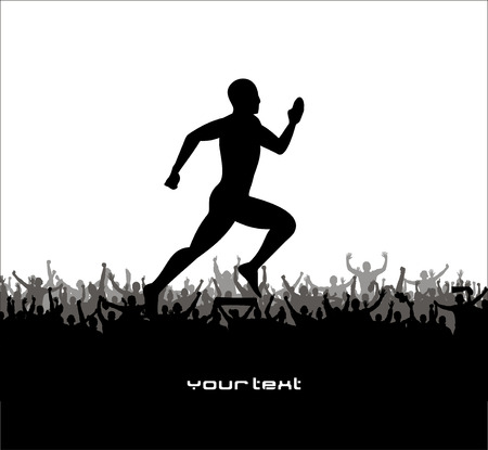 road runner: Silhouette of the runner on abstract background.