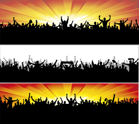 crowd of people: Advertising banners for sports championships and concerts. Illustration