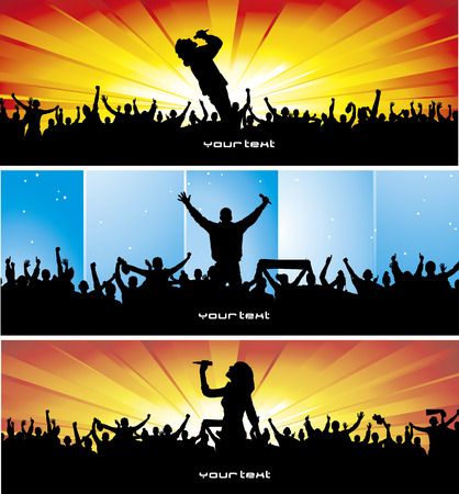 crowd happy people: Set poster for music concert