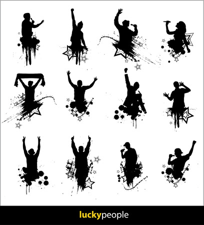karaoke singer: Silhouettes of happy people for different purposes