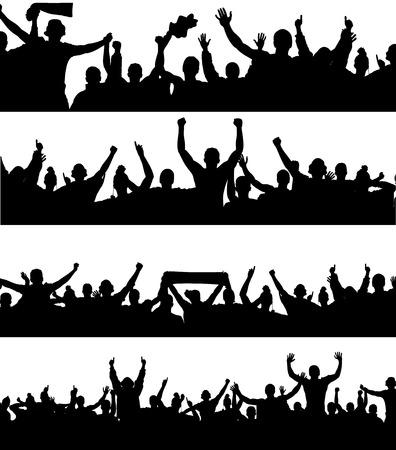 menschenmenge: Werbebanner f�r Sport-Meisterschaften und Konzerte.