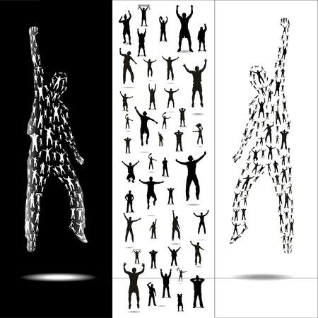 gente bailando: Siluetas para eventos deportivos y conciertos