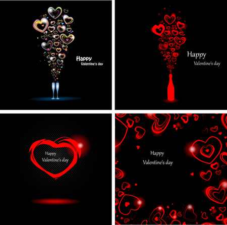 Set abstract backgrounds for the day Valentine Vector