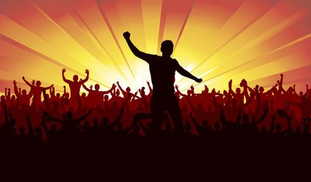 menschenmenge: Banner f�r Sportveranstaltungen und Konzerte Illustration