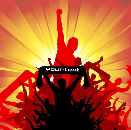 alzando la mano: Banner para eventos deportivos y conciertos Vectores