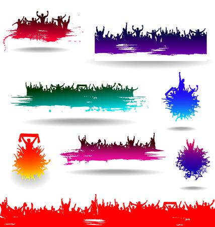 iconos de música: Banderas Conjunto para eventos deportivos y conciertos Vectores