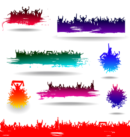 grunge background: Set banners for sporting events and concerts Illustration