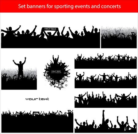icono deportes: Banderas de la colecci�n para eventos deportivos y conciertos Vectores