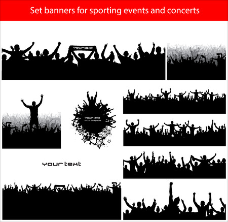 concert audience: Collection banners for sporting events and concerts Illustration