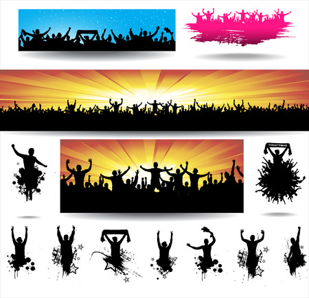 happy people: Collection banners for sporting events and concerts Illustration