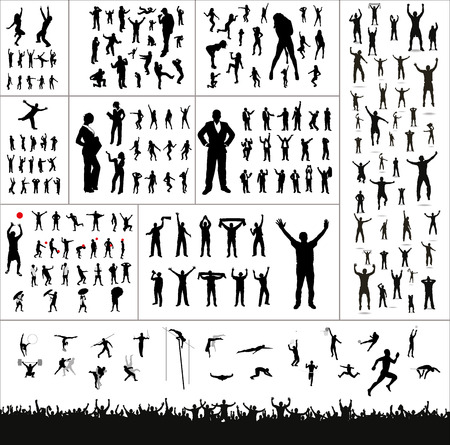 concert crowd: Big collection of silhouettes.And advertising banner for sports championships and concerts Illustration