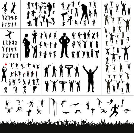 novios silueta: Gran colección de banner de publicidad silhouettes.And para campeonatos deportivos y conciertos Vectores