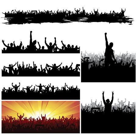 menschenmenge: Sammlung Banner f�r Sportveranstaltungen und Konzerte Illustration