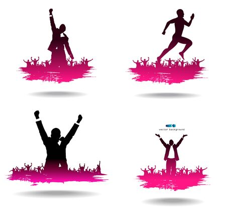 cheering: Advertising banners from silhouettes of happy people