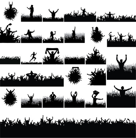 soccer stadium crowd: Collection of advertising posters from people silhouettes.