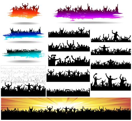 personas saltando: Banderas Conjunto para eventos deportivos y conciertos Vectores