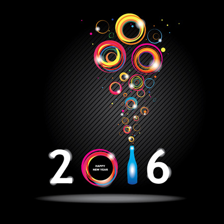 happy new year: New year 2016 in black background. Abstract poster