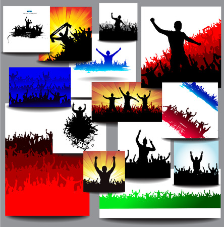 merry dancers: Big collection banners for sports championships and concerts multicolored