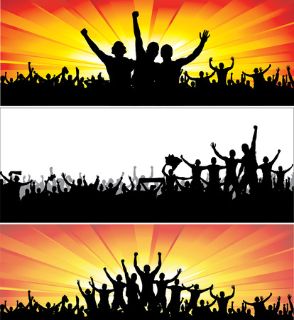 hands in the air: Advertising banners for sports championships and music concerts