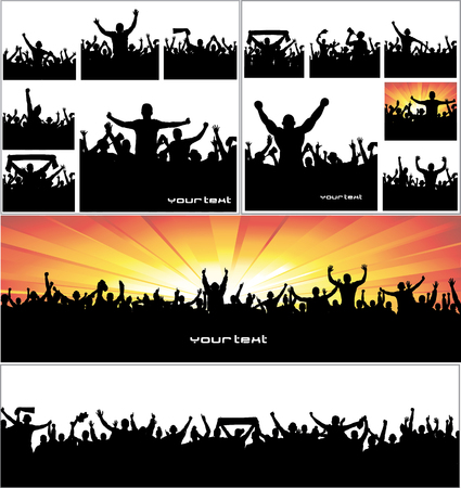 arms: Advertising banners for sports championships and concerts. Illustration