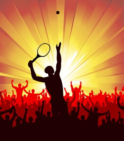 backhand: tennis silhouette Illustration