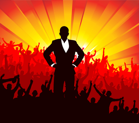 open fan: Advertising banner with jubilant people Illustration