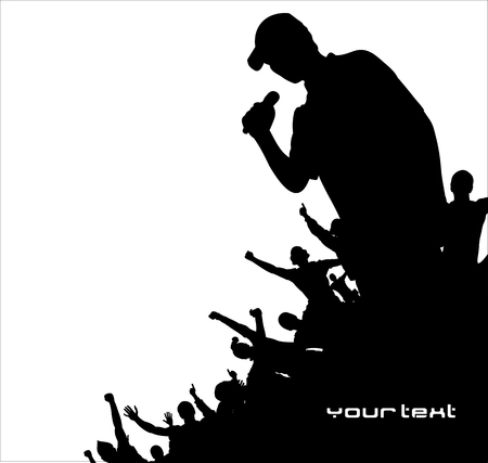 crowd happy people: Music advertising banner Illustration