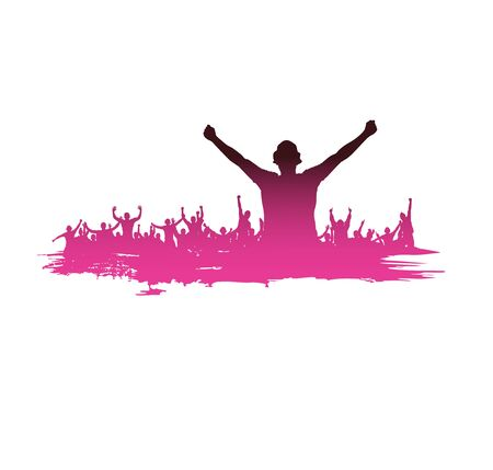 crowd happy people: Advertising banner sports championships and concerts Illustration