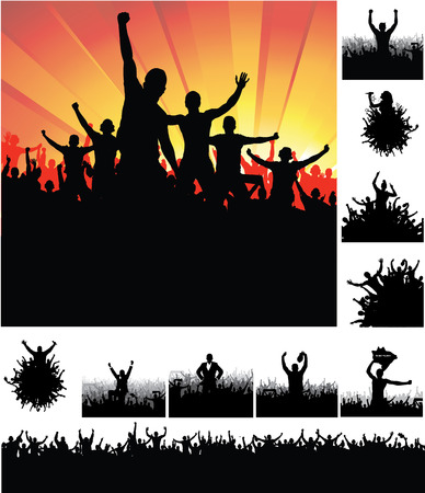 merry dancers: Advertising banners for sports championships and concerts. Illustration