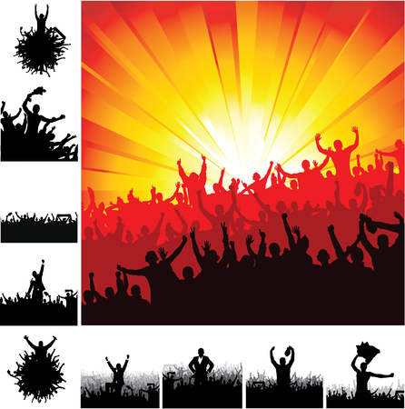 sports club: Advertising banners for sports championships and concerts. Illustration