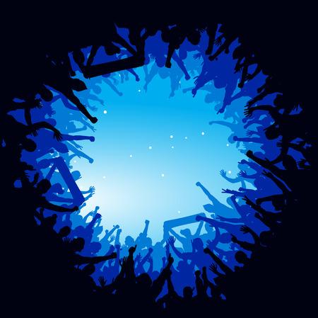 応援する人たちの広告ポスター  イラスト・ベクター素材