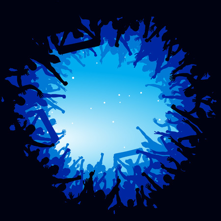 Advertising poster of people cheering Stok Fotoğraf - 53987257