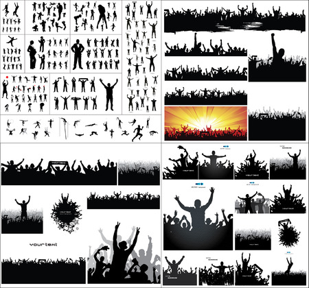 pose: Big collection of silhouettes.And advertising banner for sports championships and concerts Illustration