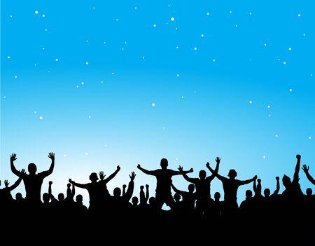 crowd happy people: Advertising poster of people cheering