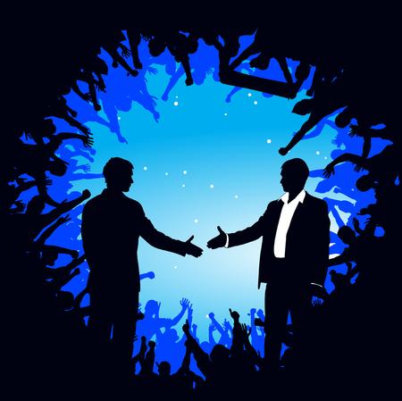 congratulating: Business man shake hands